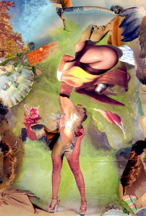 High Heel Helper, 2007, original paper collage on museum board, 22 x 14 1/2 inches.